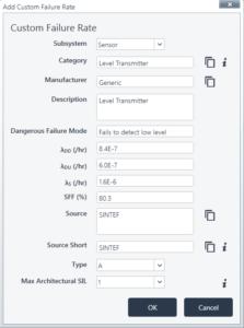 Adding Custom Failure Rate Data - ProSET®