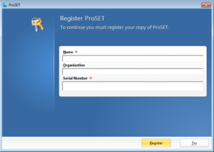 ProSET® Serial Number and User Details - Functional Safety Software Software